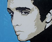 Sideburns Painting Framed Prints - Elvis Blue Framed Print by Marisela Mungia