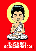 Enlightenment Drawings Framed Prints - Elvis Buddha Framed Print by Ghita Andersen