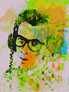 Celebrities Framed Prints - Elvis Costello Framed Print by Irina  March