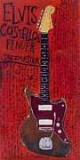 Rock And Roll Paintings - Elvis Costello Jazzmaster by Karl Haglund