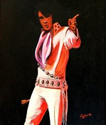 Elvis Presley Painting Originals - Elvis in Lights by John Stevens