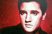 Elvis Presley Art - Elvis In Red by Christian Carrette
