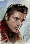 Elvis Presley Drawings - Elvis King of Rock and Roll by Viola El