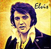 Elvis King Of Rock And Roll Print by Barbara Chichester