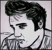 Featured Drawings Framed Prints - Elvis Framed Print by Lynette  Swart