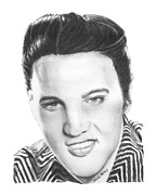 Rock N Roll Drawings Prints - Elvis Print by Marianne NANA Betts