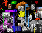 Black And White - Elvis Memphis Collage by Chuck Staley