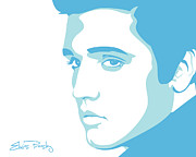 Blue Digital Art Originals - Elvis by Mike Maher