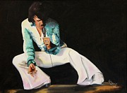 Elvis Presley Painting Originals - Elvis on Stage by John Stevens