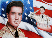 Flag Of Usa Drawings Posters - Elvis Patriot  Poster by Andrew Read