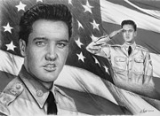 July 4th Drawings Posters - Elvis Patriot bw signed Poster by Andrew Read