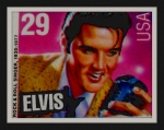 Gail Matthews Prints - Elvis Postal Stamp USA - The King  Print by Gail Matthews