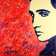 Elvis Presley Art - Elvis Presley - Red Blue Drip by Bob Baker