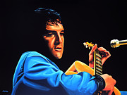 Rock And Roll Painting Posters - Elvis Presley 2 Poster by Paul  Meijering