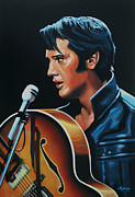 Rock And Roll Painting Posters - Elvis Presley 3 Poster by Paul  Meijering