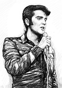 Elvis Presley Drawings - Elvis Presley art drawing sketch portrait by Kim Wang