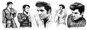 King Of Pop Drawings Prints - Elvis Presley art long drawing sketch portrait Print by Kim Wang