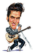 Caricatures Painting Prints - Elvis Presley Print by Art