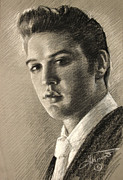 Elvis Drawings - Elvis Presley by Viola El