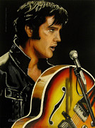 Singer Glass Art Metal Prints - Elvis Presley Metal Print by Betta Artusi