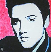 Elvis Presley Painting Originals - Elvis Presley - Crimson Pop Art by Bob Baker