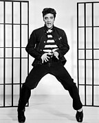 Jailhouse Rock Framed Prints - Elvis Presley in Jailhouse Rock 1957 Framed Print by Mountain Dreams