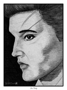 Grey Drawings Framed Prints - Elvis Presley Framed Print by J McCombie