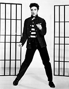 Guitarist Photo Framed Prints - Elvis Presley Jailhouse Poster Framed Print by Sanely Great
