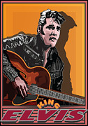 Music Legend Digital Art Framed Prints - Elvis Presley Framed Print by Larry Butterworth