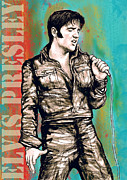 At Poster Mixed Media Prints - Elvis Presley - Modern art drawing poster Print by Kim Wang
