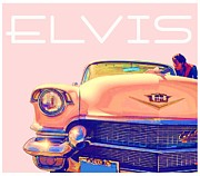 Rockstar Framed Prints - Elvis Presley Pink Cadillac Framed Print by Edward Fielding