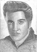 Rock N Roll Drawings Originals - Elvis Presley Portrait by Sarah Maria Scharfe