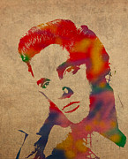 Presley Framed Prints - Elvis Presley Watercolor Portrait on Worn Distressed Canvas Framed Print by Design Turnpike