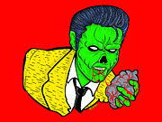 Classic Rock Painting Originals - elvis presley Zombified by Gary Niles