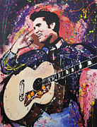 Acoustic Guitar Painting Originals - Elvis by Richard Day