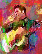 King Of Pop Prints - Elvis Rockabilly  Print by David Lloyd Glover