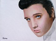 Signed Mixed Media Posters - Elvis Poster by Venus