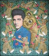 Oil Sculpture Originals - Elvis With Teddy Bear by Gerald Sabatini