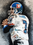 Denver Broncos Drawings Prints - Elway Print by Don Medina