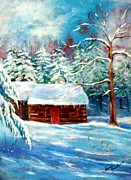 Log Cabin Pastels Prints - Elwoods Cabin Print by Jane Baribeau