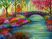 Kinkade Painting Posters - Elysian Bridge Poster by Ann Marie Bone