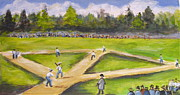 Baseball Game Painting Framed Prints - Elyssian Field  Hoboken Framed Print by Melinda Saminski