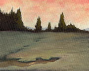 Trees At Sunset Paintings - EM Fields 3 by Robert Amaral