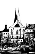 Prague Mixed Media Prints - Emauzy - Benedictine monastery Print by Michal Boubin