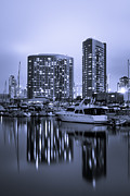 Condos Prints - Embarcadero Marina at Night in San Diego California Print by Paul Velgos