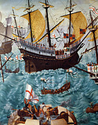 Warship Prints - Embarkation of Henry VIII Print by Friedrich Bouterwek