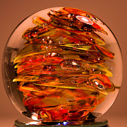 Glass Sculpture Glass Art - Ember Swirls  FE1 by David Patterson