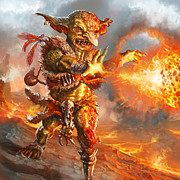 Magic The Gathering Posters - Embermage Goblin Poster by Ryan Barger
