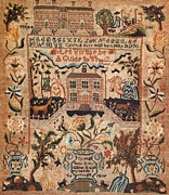 Reproduction Tapestries - Textiles Posters - Embroidered Sampler Poster by Cynthia Burr