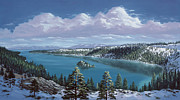 Snow Covered Pine Trees Paintings - Emerald Bay - Lake Tahoe by Del Malonee